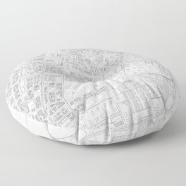 Abstract Map of New York City Manhattan Lower East Side Floor Pillow