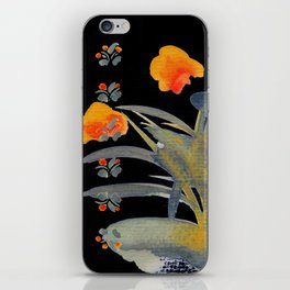 Atom Flowers #34 in orange and blue grey iPhone Skin