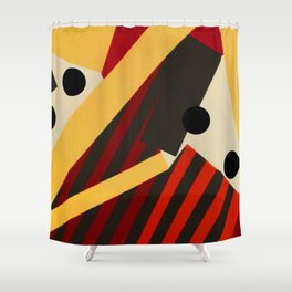 Abstract in Stripes and Dots Shower Curtain