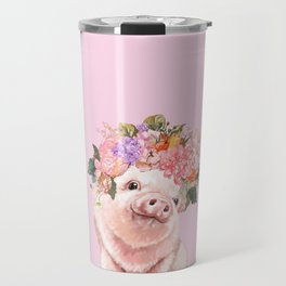 Baby Pig with Flowers Crown Travel Mug