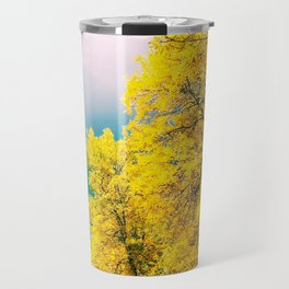 Photograph of Bright Yellow, Autumnal Leaves Against Cloudy Skies in Edmonton, AB During Fall Travel Mug