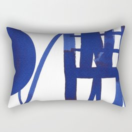 Blue grid -abstract minimalist ink painting Rectangular Pillow