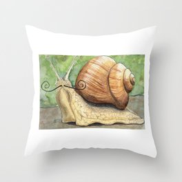 Snail 'Stache Throw Pillow