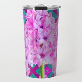 PURPLISH-PINK ROSES & HYACINTHS TEAL PATTERN ART Travel Mug