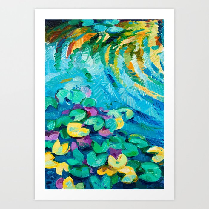 Original oil painting of beautiful water lily(Nymphaeaceae) on canvas.Modern Impressionism Art Print