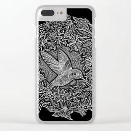 Hummingbird In Flowery Wreath Linocut Clear iPhone Case