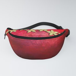 Spectacular gold flowers in red and black grunge texture Fanny Pack