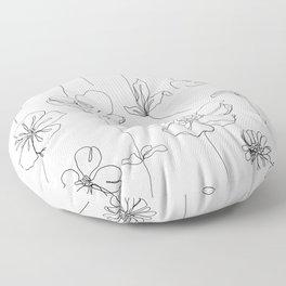 Botanical illustration drawing - Botanicals White Floor Pillow