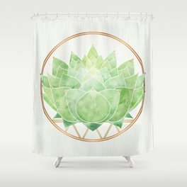 Watercolor Succulent with Metallic Gold Accents Shower Curtain