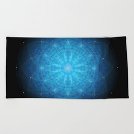 crystal mind. sacred geometry mandala Beach Towel