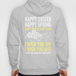 Happy Easter, Happy Spring | Poem Artwork | Dusty Pink, White, Yellow Hoody