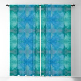 Green and Blue Mirrored Watercolor Blackout Curtain