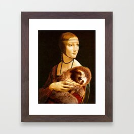 Lady With A Sloth Framed Art Print