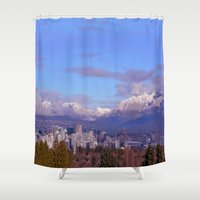vancouver Shower Curtains featuring Downtown Vancouver Panorama by Lena Photo Art