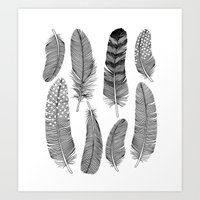 feathers Art Prints featuring Feathers by Holly Trill