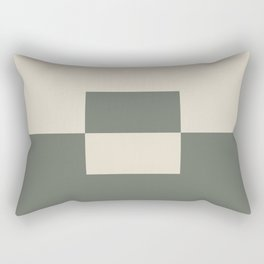Green Buff Tan Minimal Square Design 2 2021 Color of the Year Contemplative Bleached Pebble Rectangular Pillow