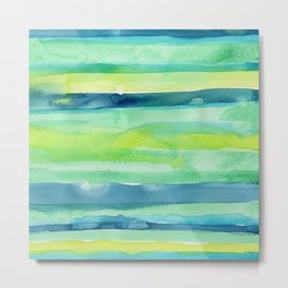 Spring Colors Stripes Pattern Blue Green Yellow Metal Print