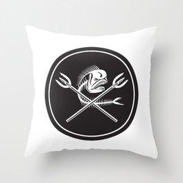 Skull Mahi Mahi Dolphin Fish Crossed Spears Circle Retro Throw Pillow