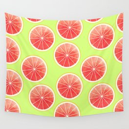 Pink Grapefruit Slices Pattern Wall Tapestry