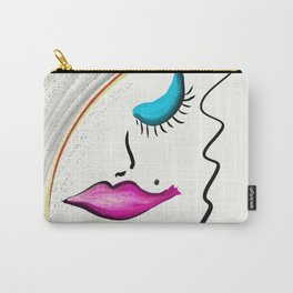 Lady Diva Fuschia Lips Blue Eyes Carry-All Pouch