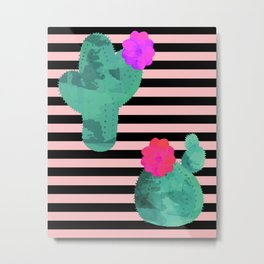 Cactus Stripes Peach Background Metal Print