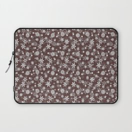 Festive Brown Granite and White Christmas Holiday Snowflakes Laptop Sleeve
