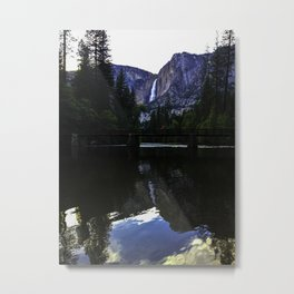 Yosemite Falls reflection on the Merced River Metal Print
