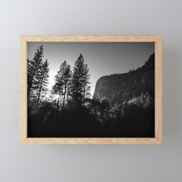 Sunlit Forest Trees and Cliffs in Yosemite Valley National Park (Black and White) Framed Mini Art Print