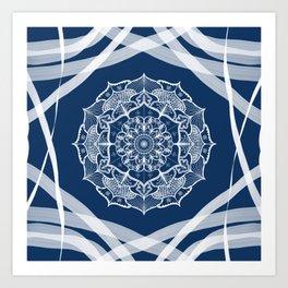 Mandala art design white navy blue pattern Art Print