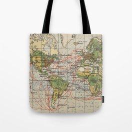 Vintage World Sailing Routes Map (1914) Tote Bag