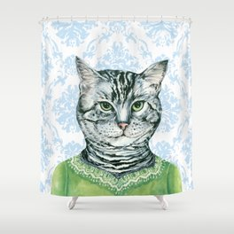 Rhonda Dressed for luncheon Shower Curtain