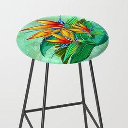Bird of Paradise Flower Exotic Nature Bar Stool