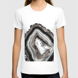 Agate Rose Gold Glitter Glam #4 #gem #decor #art #society6 T-shirt