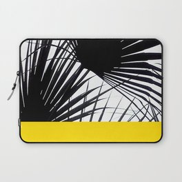 Black and White Tropical Palm Leaves on Sunny Yellow Laptop Sleeve