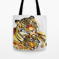 tigers Tote Bags featuring Tigers by DrewzDesignz