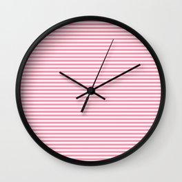 Pink and White Horizontal Stripes Wall Clock