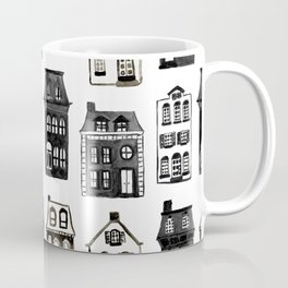 Mansard Mansions in Black + White Watercolor Coffee Mug