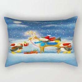 Penguin and Reindeer Christmas Rectangular Pillow