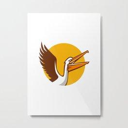 Pelican Flying Up Circle Retro Metal Print