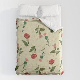 Poppy, thistle and datura flower on a light yellow grassy background. Comforters