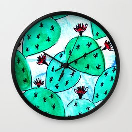 Jungle green cacti Wall Clock