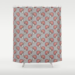 Hand Drawn Forest Toadstools on Gray Shower Curtain