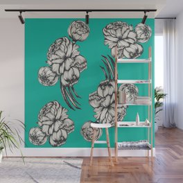 Inked Peonies in Turquoise Pattern Wall Mural