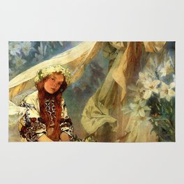 "Alphonse Mucha ""Madonna of the liles"" Rug"
