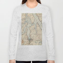 Vintage Map of The Puget Sound (1934) Long Sleeve T-shirt