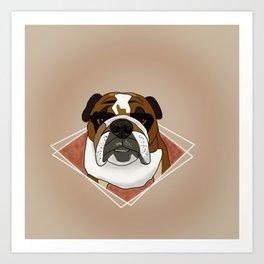 English Bulldog Cartoon Portrait Avatar Art Print