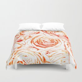 Roses // Wedding Flowers, Abtract Minimalist Art Duvet Cover