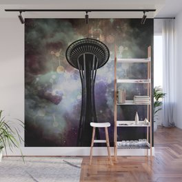 Space Needle - Seattle Stars and Clouds at Night Wall Mural