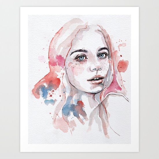 Singing of passion, watercolor Art Print