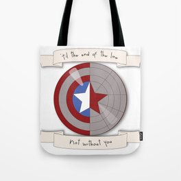 Steve Rogers and Bucky Barnes Shield Tote Bag